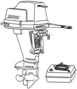 Мотор Вихрь с баком - общий вид.