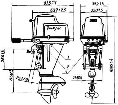 Мотор Вихрь - габаритные размеры и места подключения