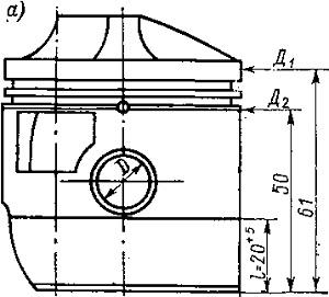 Схема замеров цилиндрической части поршней