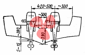 Схема установки двух подвесных моторов на транце мотолодки.