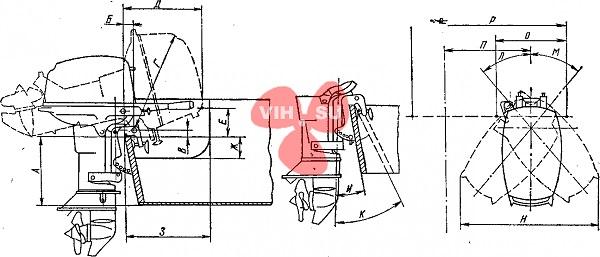 Присоединительные размеры подвесных моторов к Таблице 2.