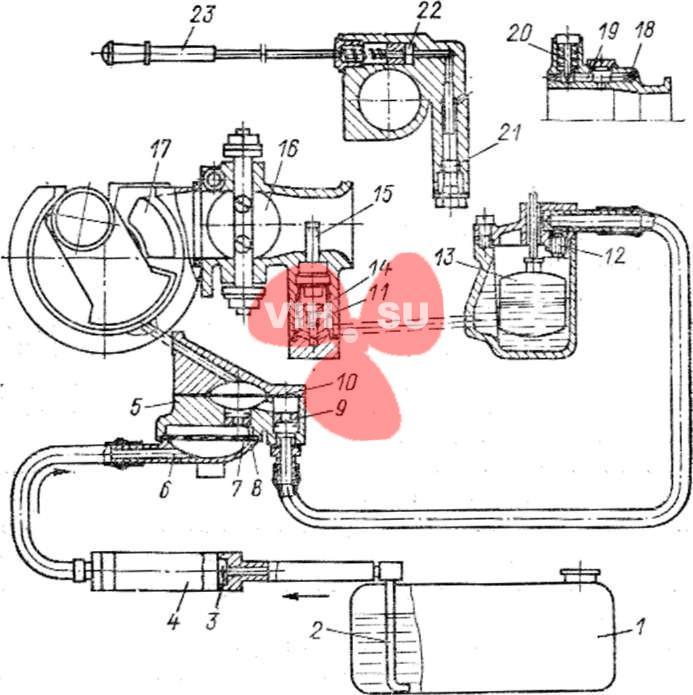Схема системы питания и смазки мотора Вихрь