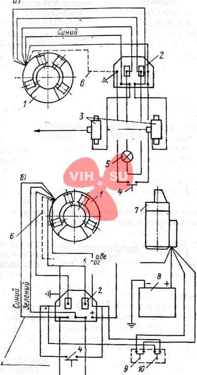 Принципиальная монтажная схема электрооборудования моторов Вихрь